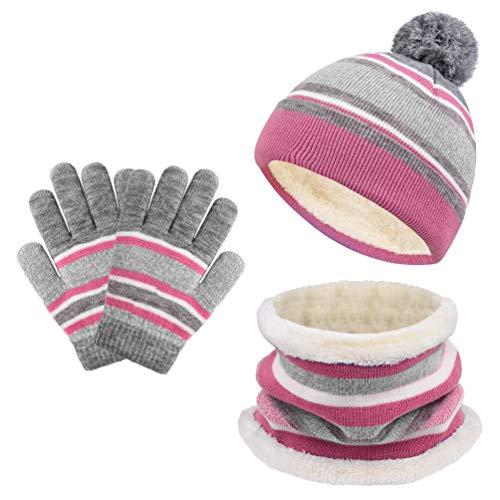 VBIGER Mädchen Jungen Schal Mütze Und Handschuhe Set, Babymütze Winter Warm Baby Sachen Für Mädchen,kinder Bommel Für Mützen 3-6 Jahre