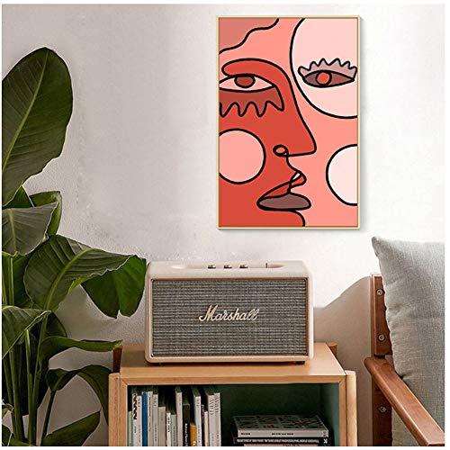 Creatieve Canvas Schilderijen Abstract Kubisme Gezicht Tekening Foto's Wall Art Poster Print voor Woonkamer Woondecoratie -60x110cm Geen Frame