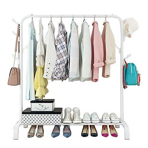 Perchero de metal para ropa, resistente, con 8 ganchos laterales, 1 estante de almacenamiento inferior para zapatos, 1,5 m (blanco)