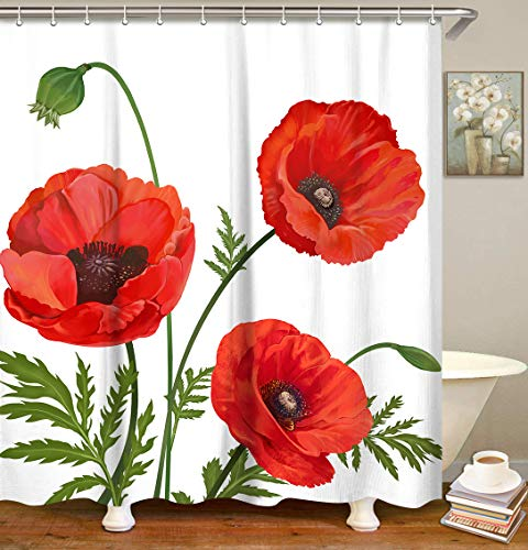 LIVILAN Poppy Shower Curtain Red Floral Fabric Bathroom Curtain Flowers Home Decoration Set with Hooks Machine Washable 72x72 Inches Modern