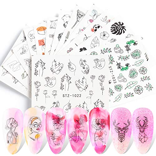 Nail Water Stickers Decals Foil Tattoo Nail Art Supplies Abstract Image Snake Flower Leaf Black Line Face Animals Charms Butterfly Skull Design for Manicure Nail Art Watermark Decorations 16 PCS