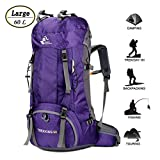 60L Waterproof Ultra Lightweight Hiking Backpack with Rain Cover,Outdoor Sport Daypack Travel Bag for Climbing Camping touring (Purple)