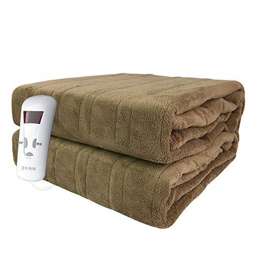 Electric Blanket Single Control No Radiation Waterproof Timed Coral Velvet Office Household Warm-Up Blanket, 160×130cm