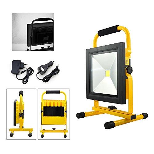 VINGO® 50W Blanc Projecteur LED Portable Rechargeable Adaptateur et Chargeur de Voiture inclus Pour Camping, Garage, Terrasse, Jardin, Abri etc