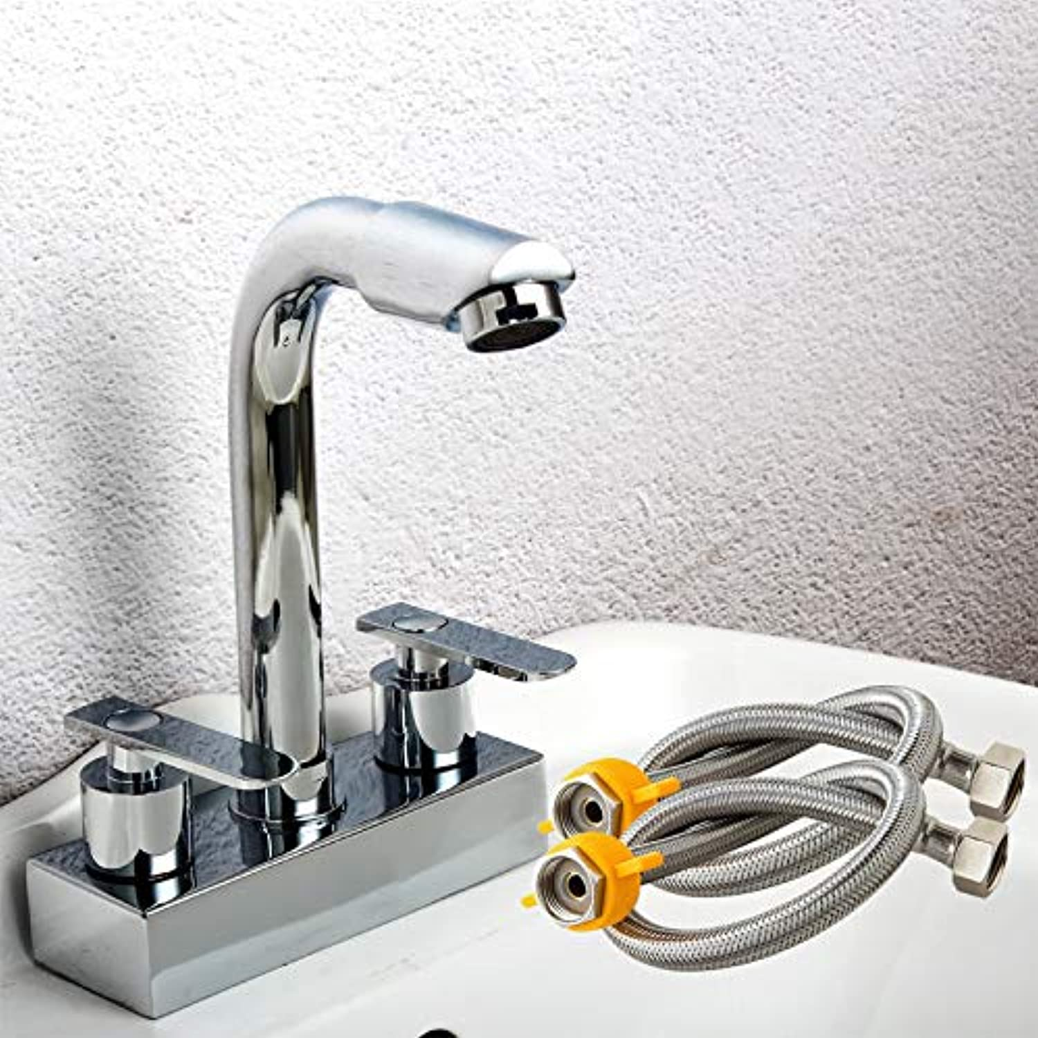 Hlluya Professional Sink Mixer Tap Kitchen Faucet Solid brass double Two holes basin cold water tap,Y