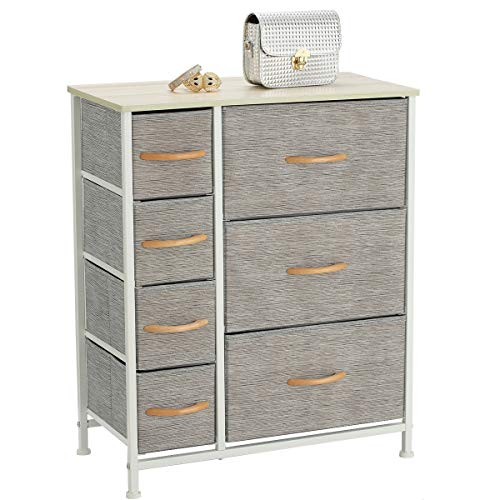 Sami Time Dresser with Drawers - Furniture Storage Tower Unit for Bedroom, Hallway, Closet, Office Organization - Steel Frame, Wood Top, 7-Drawer Easy Pull Fabric Bins (Gray-1)