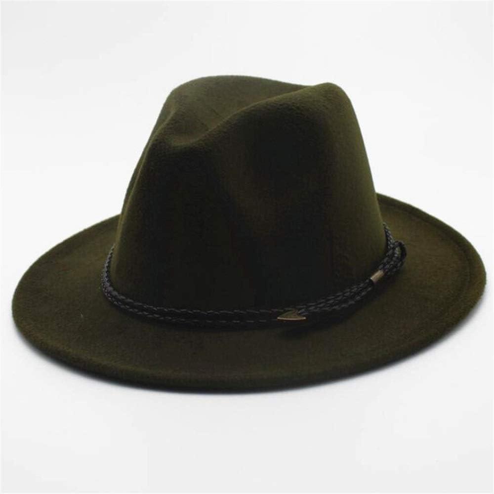 HXGAZXJQ Retro Fedora Hat for Men Women Wool Cap Church Hat Wide Brim Jazz Hat Casual Wild Fascinator Hat Size 56-58CM (Color : Army Green, Size : 56-58)