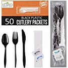 50 Plastic Cutlery Packets - Knife Fork Spoon Napkin Salt Pepper Sets | Black Plastic Silverware Sets Individually Wrapped Cutlery Kits, Bulk Plastic Utensil Cutlery Set Disposable To Go Silverware