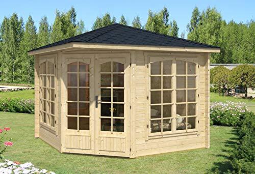 Alpholz 5-Eck Gartenhaus Josephine-40 A aus Massiv-Holz | Gerätehaus mit 40 mm Wandstärke | Garten Holzhaus inklusive Montagematerial | Geräteschuppen Größe: 302 x 302 cm | Spitzdach