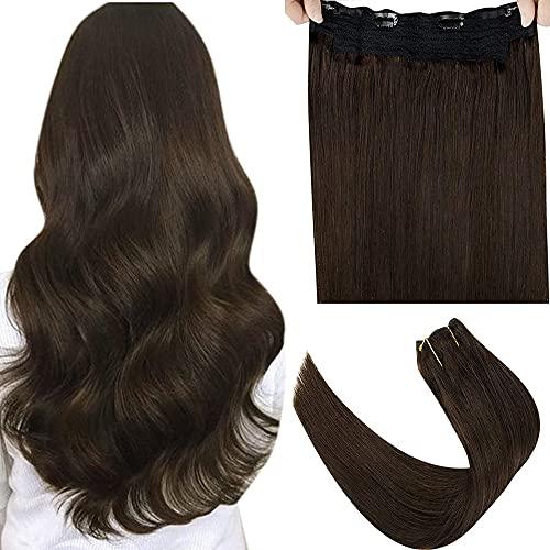 LaaVoo Fil on Hair Extension Tissage, Marron Le Plus Foncé Vrais Cheveux Remy Hair Fil Invisible Wire Extensions Marron Le Plus Foncé Une Piece Secret Crown Hair Extensions 80g 12Pouce