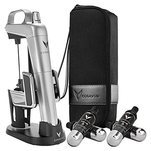 Coravin Model Two Elite Pro — Wine Preservation System — Bottle Opener, Needle Pourer, Aerator, and Wine Saver — Silver — Includes 4 Argon Gas Capsules, Carry Case, Base, and Wine Needle