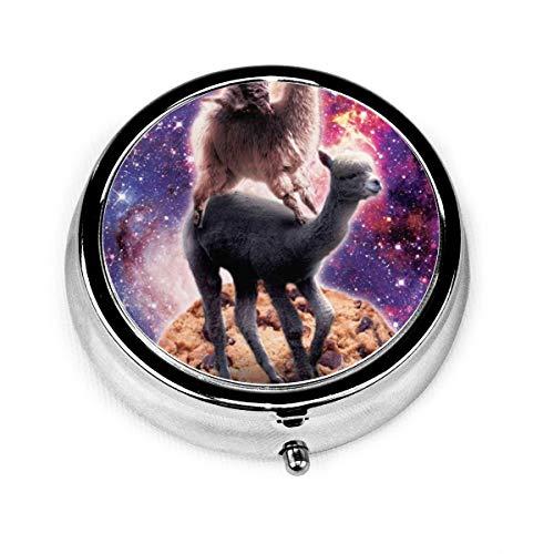 Cat Llama Alpaca Cookie Custom Fashion Silver Round Pill Box Medicine Tablet Holder Wallet Organizer Case For Pocket Or Purse Vitamin Organizer Holder Decorative Box