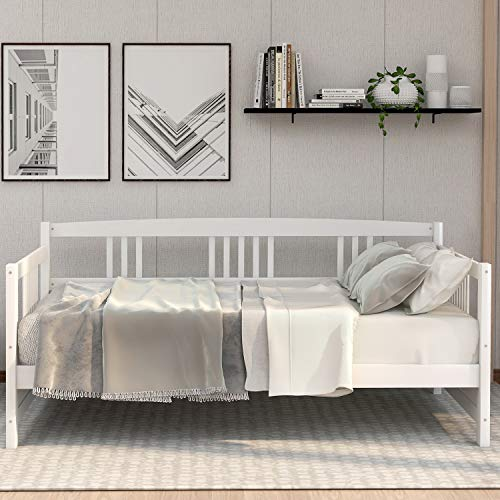 P PURLOVE Wood Daybed with Rails Twin Bed Wooden Slats Support Modern Living Daybed, Twin, White