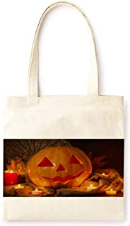 Cotton Canvas Tote Bag Modern Night Gold Fairy Tale Pumpkin Lantern Farmhouse Style Halloween Party Printed Casual Large Shopping Bag for School Picnic Travel Groceries Books Handbag Design