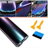 Pellicola Adesiva Protettiva,30 * 300cm Pellicola Adesiva Fibra di Carbonio Rivestimento Adesivo Colore variabile da Viola a Blu Camaleonte,Car Sticker Wrapping Auto e Moto