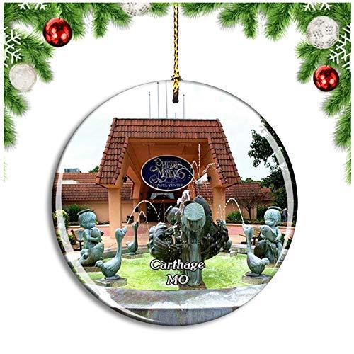 Weekino Carthage Precious Moments Park Missouri USA Christmas Ornament Xmas Tree Decoration Hanging Pendant Travel Souvenir Collection Double Sided Porcelain 2.85 Inch