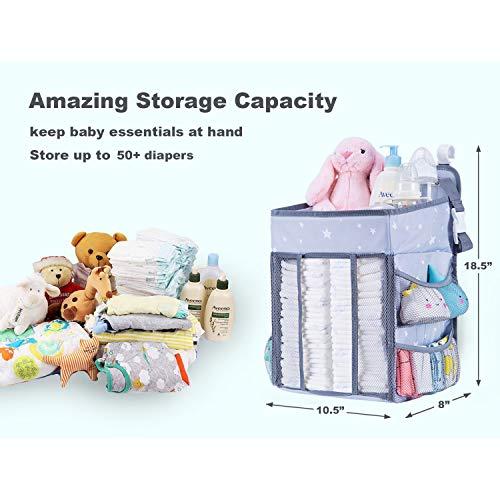 ベビーベッド収納袋折りたたみ式吊り袋収納バッグサイドポーチあかちゃんおむつ雑貨整理おもちゃ小物収納ケース大容量水洗い可能ライトグレー
