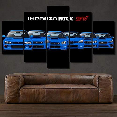 GSDFSD Art Enlienzo Póster Subaru Impre Evolution Sports Car 5 Piezas Pared Mural para Decoracion Cuadros Modernos Salon Dormitorio Comedor Cuadro Impresión Piezasmaterial