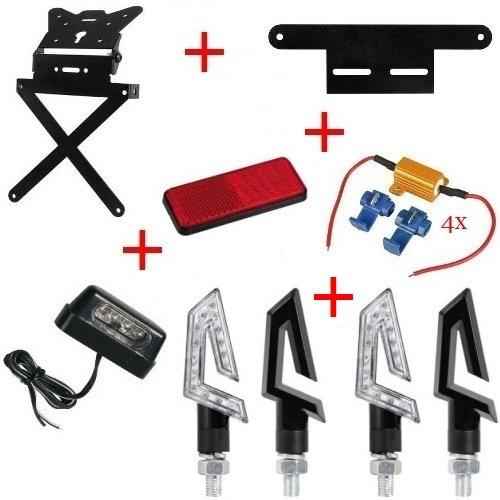 Kit pour Moto Support de Plaque d'immatriculation + 4 Flèches + Lumière Plaque d'immatriculation + catarif.+ supp.+ 4 Resis. Lampa Honda CRF 150 R 2008 – 2009