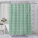 Aishare Store - Cortinas de ducha para baño, simétricas de medio corte cuadrado con triángulos, diseño a cuadros, 96 pulgadas de largo cortina de baño con ganchos, color verde menta