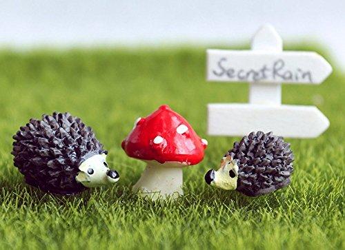 secretrain Miniatur Kunstharz Garten Fee Ornament Flower Pot Blumentopf Home Decor Igel & Pilz Set Hedgehog Set