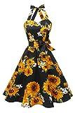 Topdress Women'sVintage Polka Audrey Dress 1950s Halter Retro Cocktail Dress Black Sunflower M