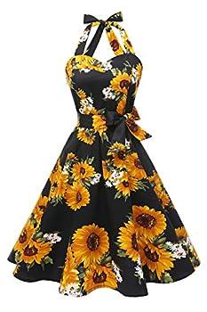 Topdress Women sVintage Polka Audrey Dress 1950s Halter Retro Cocktail Dress Black Sunflower 3XL New