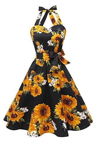 Topdress Women'sVintage Polka Audrey Dress 1950s Halter Retro Cocktail Dress Black Sunflower L