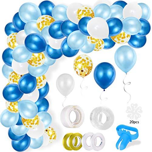 Kit Ghirlanda Palloncino, Arco Palloncini in Lattice Bianco Blu, Oro Confetti Palloncini Lattice Riempito 110 Pezzi con Palloncino Nastro per Compleanno Sfondo di Nozze Decorazione per Feste