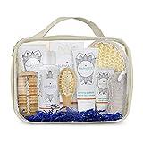 11-Pieces Bath & Body Home Spa Gift Set with Charcoal Masque, Super-fruit Eye-Lift Cream, Hand & Body Lotion, Shower Gel, Bath Salt, Shower Pouf, Sisal Sponge, More
