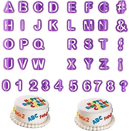 WWWL Molde de Galletas, 40 unids/Conjunto de moldes de Torta de Alfabeto Figura plástico Letra Fondant Numero Molde Hornear Herramientas de decoración (Color : Purple)