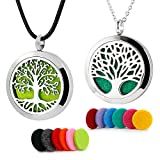RoyAroma 2PCS Tree of Life Aromatherapy Essential Oil Diffuser Necklace Stainless Steel Locket...
