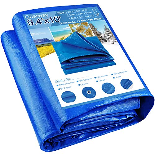 Onarway Tarpaulin 2.85m x 3m Thicken 180GSM Heavy Duty Waterproof Tarp with Reinforced Grommets, For Outdoor Shelter, Roof Cover, Garden Shade, Camping (2.85m x 3m)