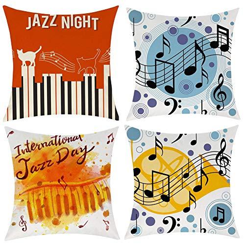 Gspirit 4 Pack Fundas Cojines 45x45 Nota Musical Algodón Lino Throw Pillow Case Cojines Decoracion