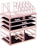 HBlife Makeup Organizer 3 Pieces Acrylic Cosmetic Storage Drawers and Jewelry Display Box, Pink