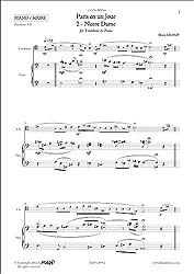 PARTITION CLASSIQUE - Paris en un Jour - 2 - Notre Dame - D. LELOUP - Trombone & Piano