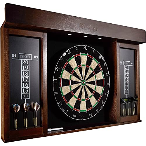 Dartboard Cabinet Set 40 Inches Wood Board with Electronic Led Light, Black,Brown