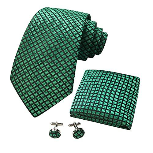 CANGRON Hombres Corbata de cuadrícula verde Tejida para hombres Bolsillo cuadrado Gemelos Conjunto de corbata DLSG8LV