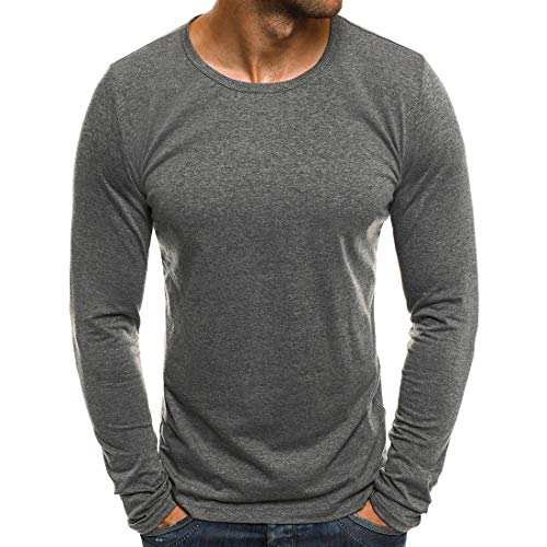 Mens T-Shirt Long Sleeves Crew Neck Basic Lightweight Casual Slim Tshirt Tops Classic Solid Color All-Match T-Shirt Comfortable Modern Sporty Fitness Jogging Top 3XL