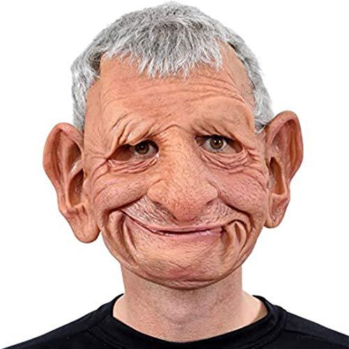 Dinapy Máscara realista de Halloween para hombre viejo/cubierta para la cara de cosplay accesorios de Halloween para el abuelo de la cara de la peluca artificial de horror cos de látex
