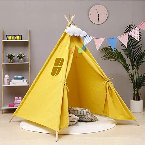 HB.YE Tienda de campaña Tipi Wigwam para niños, plegable, para niños, para juegos de bebés, para niñas y niños, para interiores y exteriores (amarillo)