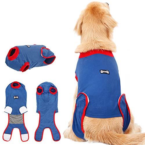 Rantow Hundeanzug nach Operationen, für weibliche/männliche Hunde, mit E-Kragen, Alternative für Hunde/Welpen, schützt Wunden, unterstützt heiße Flecken und Anti-Angst, Größe XL