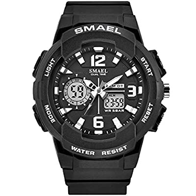 SMAEL Women's Sport Wrist Watch Quartz Dual Movement with Analog-Digital Display Watches for Women (Black)