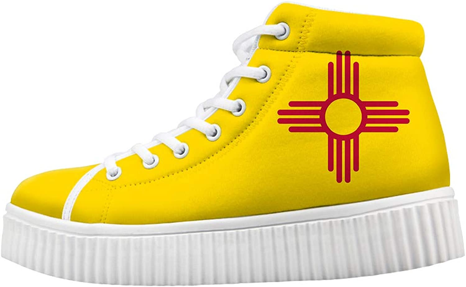 Owaheson Platform Lace up Sneaker Casual Chunky Walking shoes Women New Mexico Flag