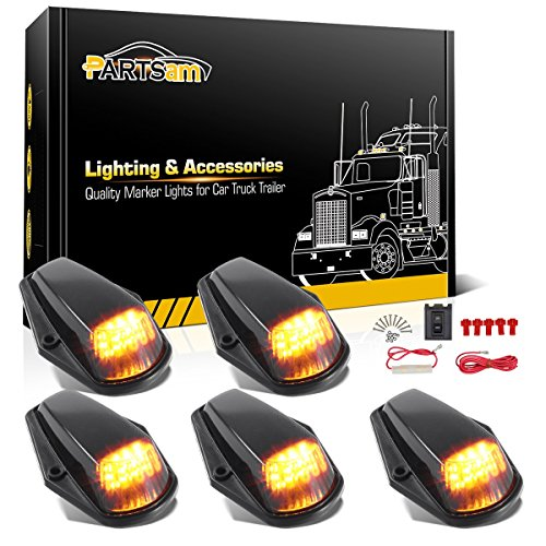 Partsam 5PCS Cab Marker Light 12LED Amber Top Roof Running LED Lights w/Wiring Harness Compatible with Ford F150 F250 F350 1973-1997 F Series Super Duty Pickup Trucks