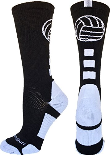 MadSportsStuff Volleyball Logo Crew Socks (Black/White, Medium)