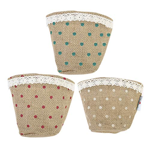 TOPBATHY Cotton Linen Storage Bag Fabric Desk Organizer with Dot Patterns and Lace Edge, 3pcs (Light Yellow, Pink and Green)