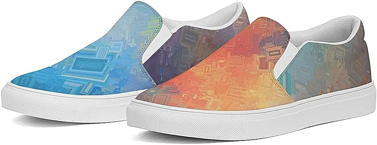 Women's Low Top Sneakers Slip-Ons Loafers Canvas Shoes Fashion Sneakers Tennis Shoes Casual Slip on Colorful Halloween Shoes