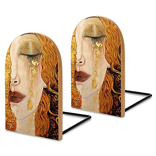 Gustav Klimt złote łzy książki na półki, sapele drewniane książki na biurko biurowe, antypoślizgowe końcówki książek do książek filmów DVD uchwyt na książki 13 x 8 x 4 cm