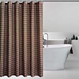 Bermino Texturierter Duschvorhang – Karierte Duschvorhänge für Badezimmer mit 12 Haken, 183 x 183 cm 72x72 inch Braun kariert
